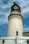 A shot of the lighthouse in close-up.